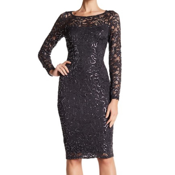 9ad71c9834c Marina Sexy Lace Dress Sequin Long Sleeve Party 12